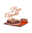 Sushi with sauce and chopstick on plate Bon vector image