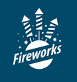 White logo for entertainment and fireworks vector image