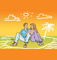 young beautiful couple dreams of travel vector image