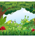 Three frogs at the forest vector image