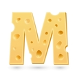 M cheese letter Symbol isolated on white vector image