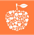 apple of fruits and berries icon on orange vector image