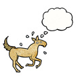 cartoon horse sweating with thought bubble vector image