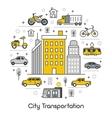 City Transportation Line Art Thin Icons Set vector image