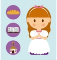 girl kid cartoon bread bible church icon vector image