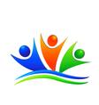 Happy swooshes team logo vector image