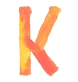 Letter K Colorful watercolor aquarelle font type vector image