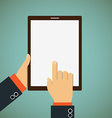 Man shows his finger on a tablet vector image