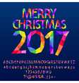 Patched bright Merry Christmas 2017 greeting card vector image