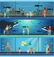 people visiting an oceanarium set of vector image