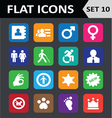 Universal Colorful Flat Icons Set 10 vector image