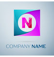 Letter N logo symbol in the colorful square on vector image