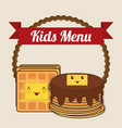 kids menu pancake syrup butter vector image