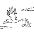 Black and white stork with baby vector image