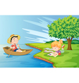 A boat with a boy and a girl studying at the vector image vector image
