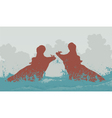 Two fighting hippos vector image vector image