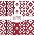 Set of red romantic geometric seamless pattern vector image