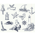 sketchy nautical objects vector image