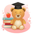 Back to school cute teddy bear toy vector image