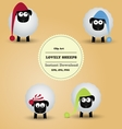 Cute funny lovely sheeps Clipart vector image