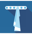 Digital blue towel on hanger in bathroom vector image