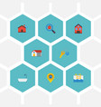 flat icons property swimming pin and other vector image