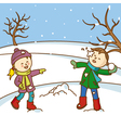 Happy kids playing to throw snowballs vector image