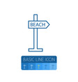 isolated beach outline signpost element vector image