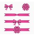 Pink ribbon and bow set for gift box vector image vector image
