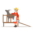 farmer woman milking her goat farming and vector image