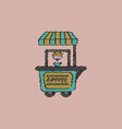 coffee shop cart in hatching style vector image vector image