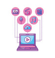laptop player video button network icons vector image