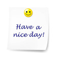 Blank Sticky Note With Have A Nice Day vector image