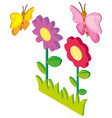 3d design for butterflies and flowers vector image