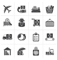Black Cargo logistic and shipping icons vector image
