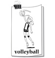 Card with girl playing volleyball vector image