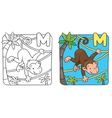 Coloring book of funny monkey on lians Alphabet M vector image