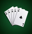 Poker cards straight flash hand template vector image