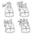 santa claus stickers black white vector image