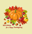 thanksgiving card with pumpkin and leaves pixel vector image
