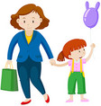 Mother and little girl with balloon vector image