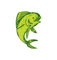 Dolphin Fish Jumping Etching vector image vector image