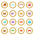 colorful crab icons circle vector image