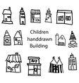 cute handdrawn buildings by children vector image