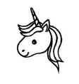 figure cute unicorn head with horn and hairstyle vector image