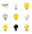 lightbulb logotype icons set cartoon style vector image