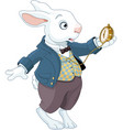 White rabbit holds watch vector image