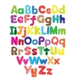 Alphabet kids doodle colored hand drawing vector image