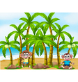A beach with coconut trees and playful monkeys vector image