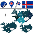 Iceland map with named divisions vector image